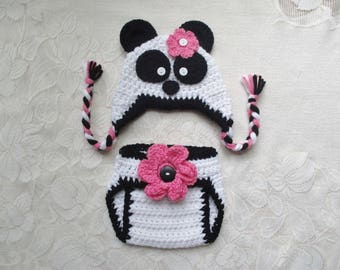 READY TO SHIP - 0 to 3 Month Size - Panda Bear Crocheted Hat and Diaper Cover - Photo Prop Set