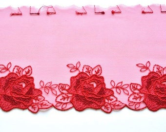 Red Roses Lace Trim, Tomatoe Red Floral Lace Trim, Mantilla, Red Dress, Red Christmas Lace, Red Lingerie