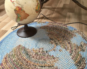 Map Rug, NEW design, hand crochet wool rug, 32 inches in diameter, other sizes and colors available to order