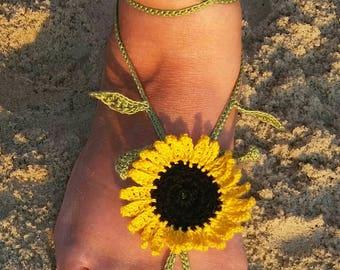 Sunflower Crochet Barefoot Sandals