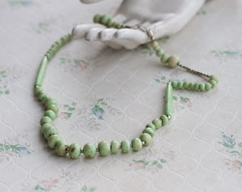 Green Turquoise Necklace - Vintage Beads Jewelry