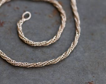 Thin Rope Chain Bracelet - Elegant Sterling Silver Chain - Vintage Jewelry