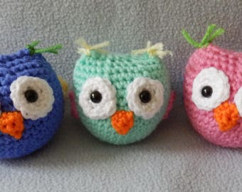 Made to order, Hand Crocheted mini OWL Doll You choose the colors, pink, blue, green, purple, multi etc.. One Doll