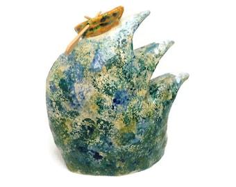 Ceramic sculpture ceramic boat on water ceramic waves ceramic statue ceramic sea ornament clay boat ornament clay sculpture