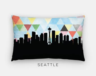 Seattle skyline pillow | Seattle pillow | Seattle Washington pillow | geometric home decor | geometric pillow | geometric Seattle skyline