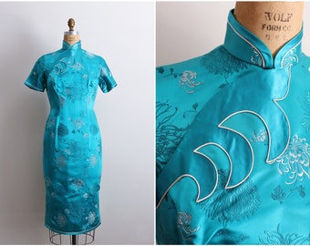 50s Turquoise Asian Floral Cocktail Wiggle Dress / Cheongsam Dress / Satin Cocktail Dress / 1950s Wiggle Dress / Size M/L