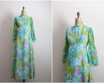 60s Angel Sleeve Boho Maxi Dress / Floral Dress / Mod / 1960s / Angel sleeve Dress / Bell Sleeve Dress/ Bohemian Dress/ Bridemaids / Size S/