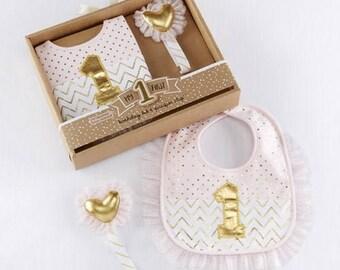 My First Birthday Set for Baby Girl, baby's first birthday, gift for baby, baby girl, gold, pink, white, baby bib -gfyNP01471
