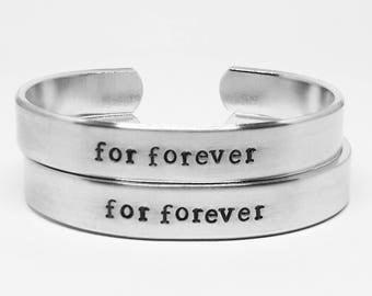 For forever: Hand Stamped Aluminum Dear Evan Hansen cuff bracelet SET of TWO cuffs by fandomonium