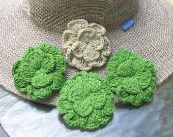 Cotton Crochet Flower Pins Brooches Clips for Adornment