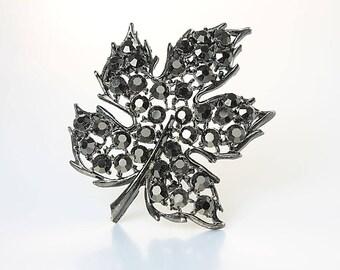 Lisner Brooch, Black Rhinestone Leaf Brooch, vintage 1960s Autumn jewelry