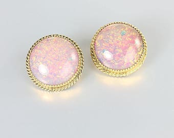 Whiting and Davis Foiled Glass Earrings, Pink Opal Button Earrings clip on, 1960s jewelry
