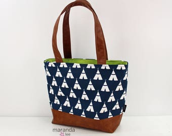 SALE Lulu Large Tote Navy Tee Pee and PU Leather  READY to SHIp -  Diaper Bag 6 pockets Nappy Bag Washable