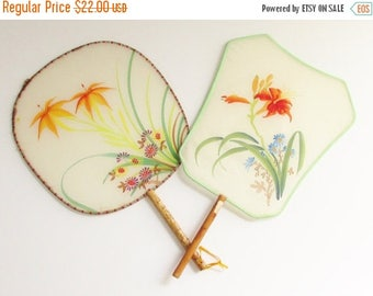 ON SALE 2 Vintage Silk Bamboo Hand Painted Orange Lily Paddle Fans Peoples Republic