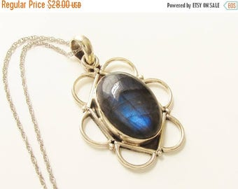 ON SALE Sterling Blue Banded Agate Pendant Necklace 925 1970s
