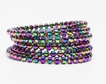 Wrap Bracelet, Wide Bracelet, Rainbow Bead Bracelet, Rainbow Bracelet, Handmade Bracelet, Bracelet with Beads