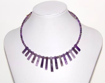 Amethyst Necklace, Collar Necklace,  Beaded Bib Necklace, Gemstone Necklace, Purple Necklace, Statement Necklace