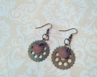 Steampunk Cog & Gear Earrings - Brass, Copper
