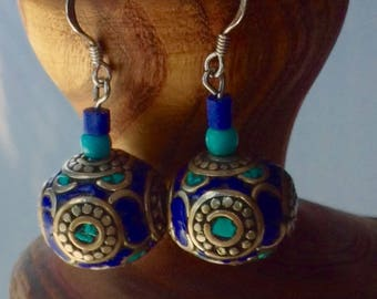 Vintage sterling silver turquoise and lapis bohemian earrings, 1970s earrings