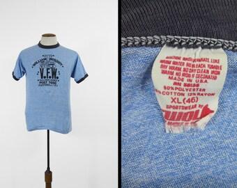 Vintage VFW Tri Blend T-shirt Rayon Heather Blue Ringer Tee - Medium