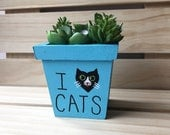 Cat Lover Planter, Gift for Cat Lovers, I Love Cats, I Heart Cats, Cat Plant, Cat Succulent Planter, Cat Decor, Cat Stuff, Gift for Her