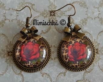 earrings pin-up rockabilly leopard red rose