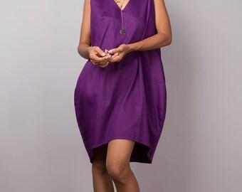 Short Dress - Purple Dress - Sleeveless Dress : Nature Touch Collection no 8