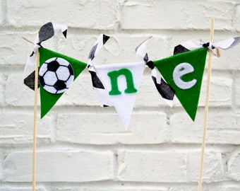 Soccer Cake Topper - cake bunting - 1st birthday - boy birthday banner - First Cake Topper - Soccer 1st Birthday - Soccer party - 1st party