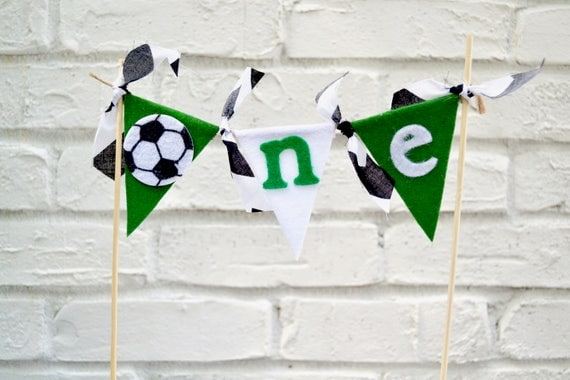 Soccer Cake Topper cake bunting 1st birthday boy birthday