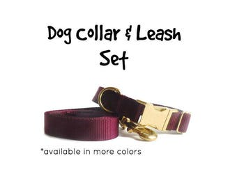 Dog Collar and Leash, Solid Colors, Teal Burgundy Navy Pink Black Blue Green Fuchsia Turquoise Dog Lead