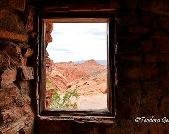 Desert View Through A Window Photography, Landscape photo, Still Life, Desert Photography, Window Photo, Travel Photography, Red Rocks