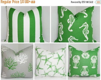 FALL is COMING SALE You Choose Decorative Pillows Starfish Seahorse Stripe Coral Lobster Green/White Beach Ocean Pillows All Sizes