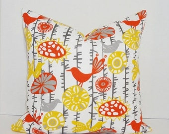 FALL is COMING SALE Outdoor Pillow Yellow Orange Bird Pillow Cover Deck Patio Pillow Cover Choose Size