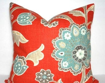 SPRING FORWARD SALE Braemore Ankara Scarlet Blue Tan Grey Orange/Red Floral Print Pillow Cover Flower Pillow Cover Choose Size