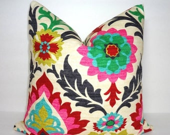 SPRING FORWARD SALE Waverly Santa Maria Desert Flower Pillow Cover Decorative Throw Pillow Cover Red Pink Black Floral Pillow Cover  18x18