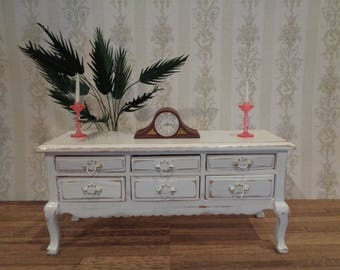 Distressed Antique White 6 Drawer Buffet Table Sideboard Dollhouse Miniature Furniture 1:12 Dolhouse Dining  Shabby Cottage Chic
