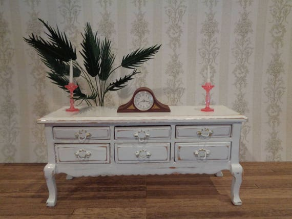 distressed antique white 6 drawer buffet table sideboard. Black Bedroom Furniture Sets. Home Design Ideas