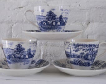 Vintage Blue and White Scenic Tea Cups - Japan