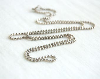 24 Inch Ball Chain Sterling Silver 2 mm Balls Vintage Italian Necklace 925