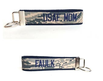 USAF Mom and Last Name Keyfob ~ Double Sided ~ Custom Made ~ Custom Colors