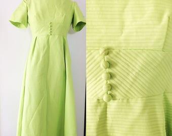 60s Formal Gown // Chartreuse Lorrie Deb Party Dress // Empire Waist Maxi Dress with Bow