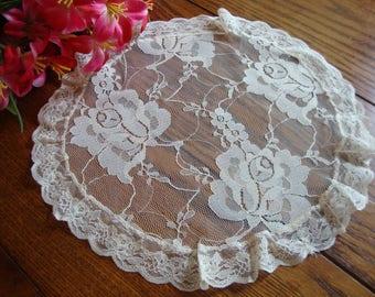 Lace Round Doily Vintage Floral Lace Doily