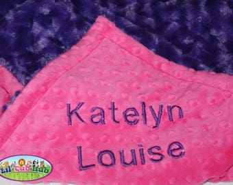 Personalized Baby Minky Blankets Custom Blanket, Embroidered Blanket - Hot Pink Dot/Bright Purple  Rosebud Swirl (Can Be PERSONALIZED)