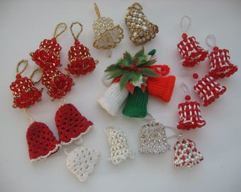 Lot of Vintage Mid Century Bell Christmas Tree Ornaments//Hand Made// Beaded/Crocheted/Knitted// Collectible Vintage Bell Ornaments//Retro