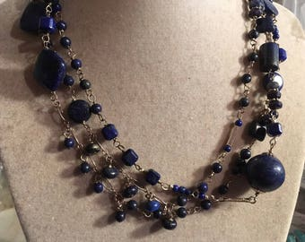 Lapis Necklace - Navy Blue Jewellery - Sterling Silver Jewelry - Gemstone - Box Clasp - Wrap - Rosary Style