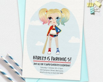 Harley Quinn Invitation, birthday invitation, kids invitation, Custom invitation, party invitation, superhero invitation, girl superhero