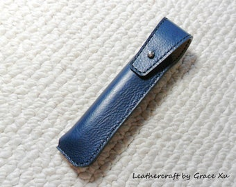 100% hand stitched handmade deep midnight blue cowhide leather case / holder / pouch for electronic cigarette / pen