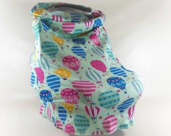 Car Seat Canopy, Nursing Cover, Cart Cover, Car Seat Cover in Hot Air Balloons