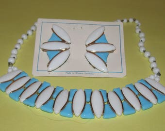 Vintage Blue and White Lucite Necklace and Clip Earring Set-Western Germany
