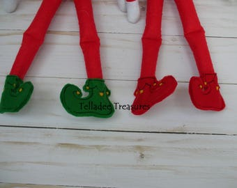 Elf doll shoes - your choice of red or green - Use as accessory or prop - Oversized Feltie foot wear